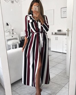 Women  Spring Striped Party Dress