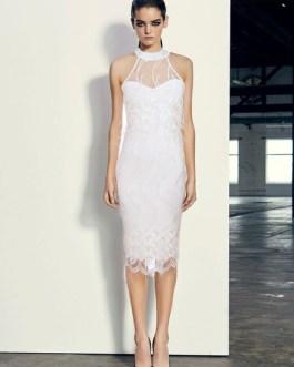 Women White Dress Sleeveless Halter Body-conscious Embroidered Dress
