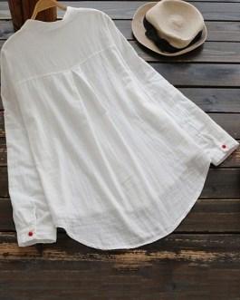 Buttons Down Cotton Asymmetric Blouse