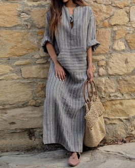 Striped Plus Size Long Maxi Boho Dresses