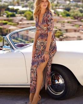 Half Sleeve Plunging Printed Split Boho Maxi Dress