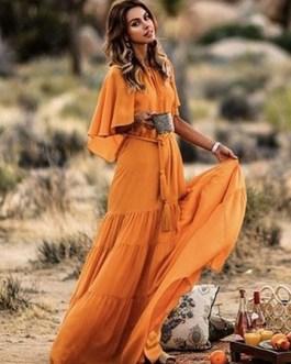 Chiffon Maxi Dress Round Neck Cape Shoulder Casual Dress