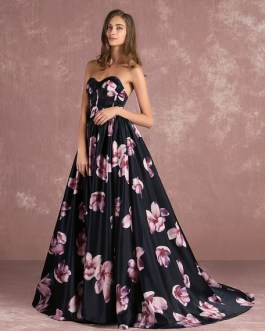 Floral Sweatheart Strapless Long Prom Dress