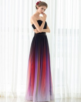 Gladient Chiffon Sweetheart Evening Prom  Dress