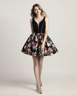 Little Black Prom Floral Print V-Neck Short Mini Party Summer Dress