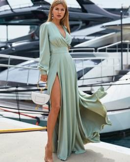 Long Sleeve Maxi Dress V Neck Party Dress Split Casual Dress