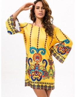Off-shoulder Print Mini Dress