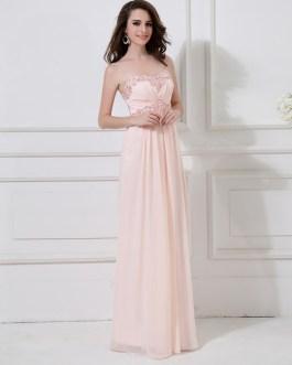 Peach Formal Evening Chiffon Beaded Prom Party Wedding Dress