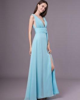 Sexy Evening Dresses Formal High Split Aqua V Neck Plunging Backless Prom Dress