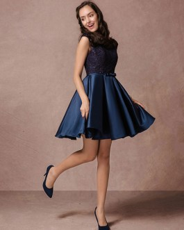 Short Lace Beading Homecoming Dress