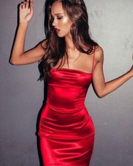 Sleeveless Lace Up Backless Shaping Mini Dress