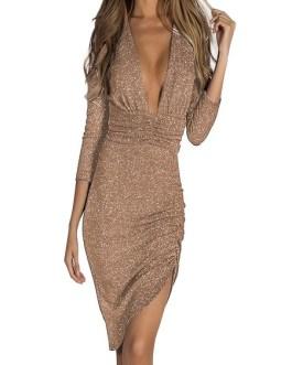 Split Midi Women Long Sleeve Bodycon Dress