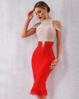 New Bandage Women Off Shoulder Sexy Feather Bodycon Club Bead Party Dress