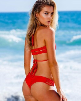 Red Bikini Swimsuit Halter Low Waist Sexy Swim Bathing Suit For Women