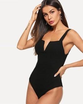 Straps Mid Waist Sleeveless Skinny Summer Party Bodysuits