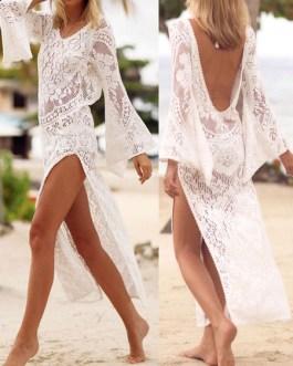 Women Cover Up V Neck Long Sleeve Split Lace Beachwear