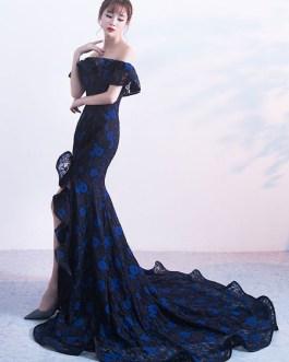 Evening Cascading Ruffles High Split Mermaid Formal Dress