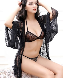 Lace Robe Sexy Semi-Sheer Adjustable Straps Bra Lingerie