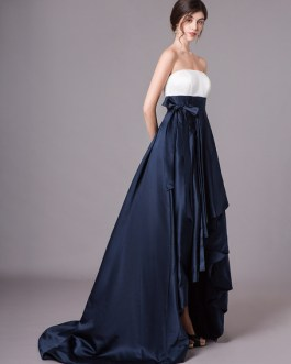 Prom Strapless Satin A Line Pleated Sash Long Evening Dress