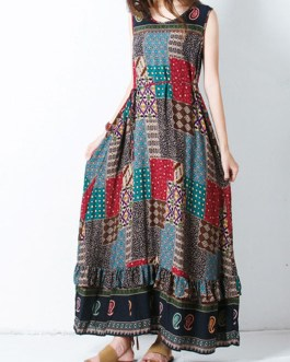 Bohemian Sleeveless O-Neck Printed Maxi Tank Dress