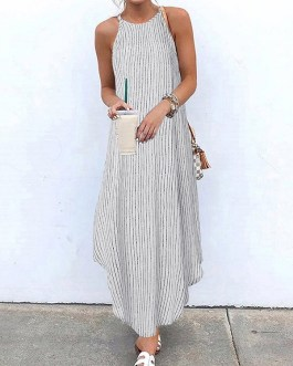 Casual Striped Spaghetti Straps Arc Hem Plus Size Maxi Dress