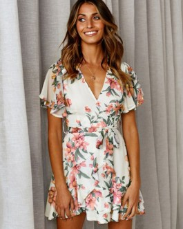 Floral Dress Short Sleeve V Neck Knotted Shaping Mini Dress