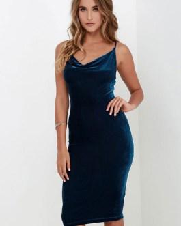 Straps Bodycon Dress Backless Velvet Dress