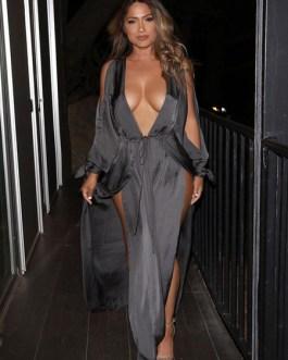 Women Sexy Deep V Split Maxi Dress