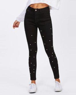 Women Jeans Mid Waist Zipper Fly Long Denim Casual Pants
