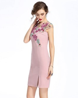 Women Mesh Embroidery Print Vestidos Sweet short Pencil dress