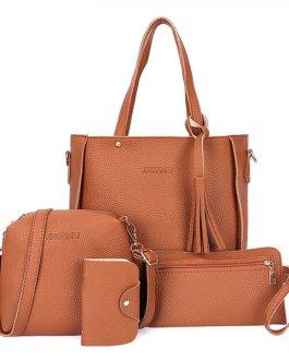 4 PCS Women PU Leather Handbag Tassel Leisure Crossbody Bag Solid Shoulder Bag