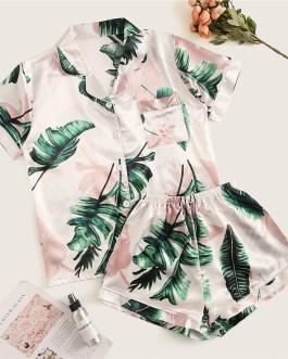 Women Tropical Print Pajama Set Casual Sleep Wear