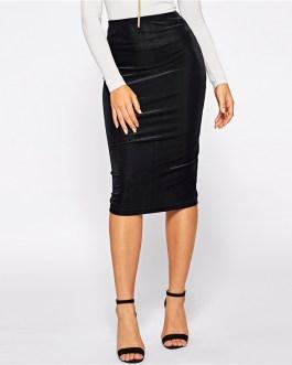 Black Elastic Waist Rib-Knit Solid Bodycon Pencil Skirt