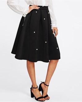 Black Vintage Pearl Embellished Boxed Pleated Circle Knee Length Mid Waist Skirt