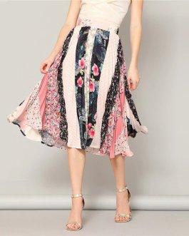 Boho Multicolor Print Chiffon Pleated Flared Midi Skirt