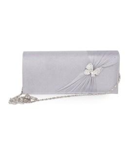 Butterfly Ruched Wedding Silk Clutch Bag
