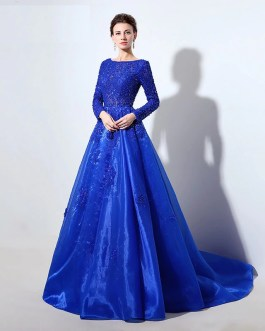 Long Sleeve Lace Bodice Ball Gown with Beading Crystal Evening Party Gowns