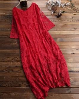 Vintage Lace Hollow 3/4 Sleeve Layers Plus Size Maxi Dress