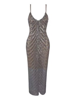 Women Backless Spaghetti Strap Sleeveless V Neck Club Dress