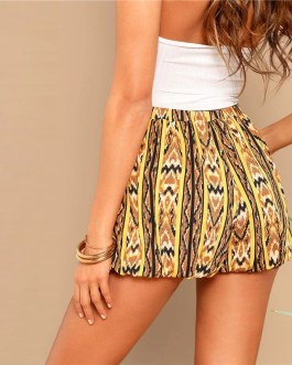 Women High Street Casual Mid Waist Loose Pocket Shorts