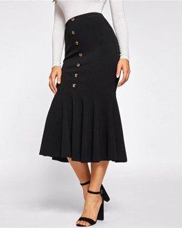 Women Mid Waist Solid Mermaid Workwear Bodycon Skirts