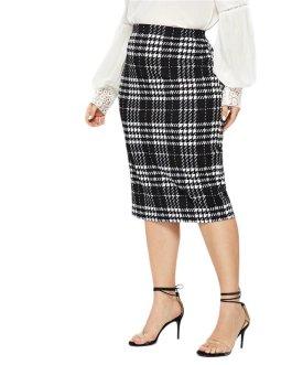 Women Plus Size Elegant Pencil stretchy Knee-Length Skirts