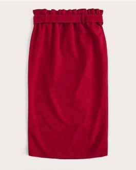 Women Solid Elegant High Waist Bodycon Skirt Lady Midi Skirt