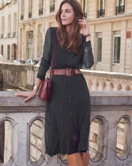 Chiffon Polka Dot Long Sleeve Button Midi Dress
