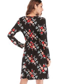 Floral Long Sleeve Shift Dress For Women