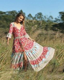 Floral Print Ethnic Beach Boho Long Dress
