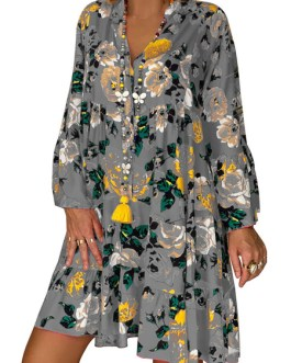 Floral Print Long Sleeve Women Vacation Dress