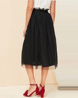 Lady Casual A-Line Mid Waist Midi Skirt