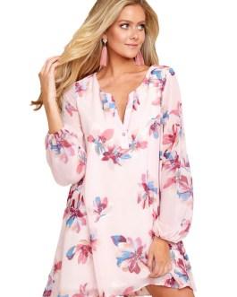 Long Sleeve Shift Dress Floral Print