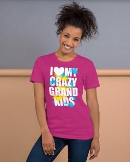 Love crazy grandkids short sleeve t-shirt